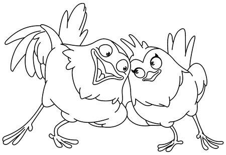 Outlined couple of loving birds. Vector line art illustration coloring page.