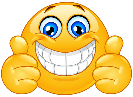 Emoticon con gran sonrisa con dientes mostrando los pulgares para arriba