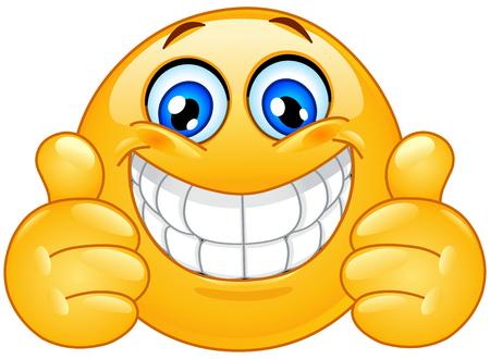 Emoticon con un grande sorriso a trentadue denti che mostra i pollici in su