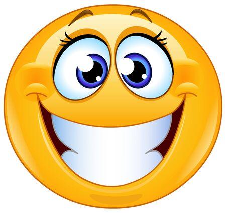 Grijnzende vrouwelijke emoticon met grote brede glimlach Vector Illustratie