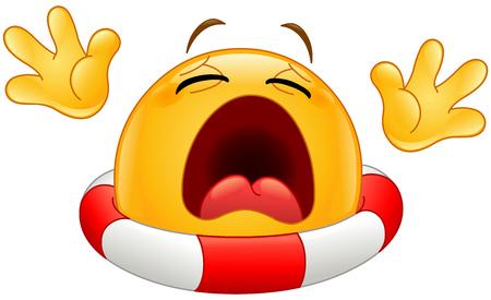 Drowning emoticon with a lifebuoy calling for help Ilustração Vetorial
