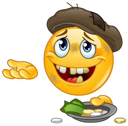 Emoticon für obdachlose Bettler, die um Geld betteln Vektorgrafik
