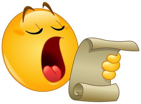 Emoticon che legge da una pergamena, fa un annuncio
