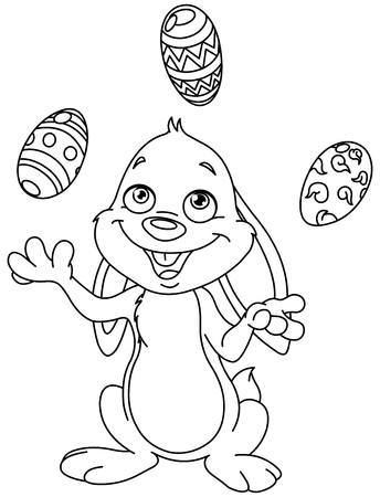 Outlined happy bunny juggling Easter eggs. Vector line art illustration coloring page.