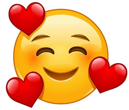 Faccina sorridente con emoticon emoji tre cuori hearts Vettoriali
