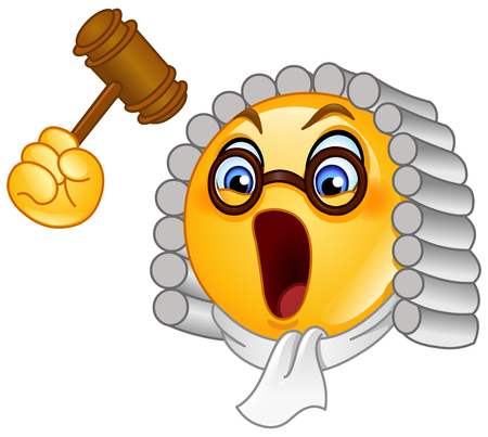 Judge emoticon with hammer Banque d'images - 122707075