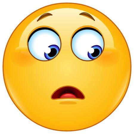 Emoticon emoji con una expresión de asombro o sorpresa mirando hacia un lado