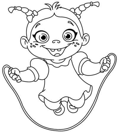 Outlined young girl playing with a jump rope. Vector line art illustration coloring page. Reklamní fotografie - 131806254