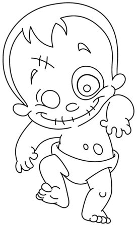Outlined happy zombie baby. Vector line art illustration coloring page.