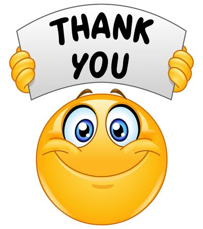 Émoticône emoji heureux tenant une pancarte avec le texte merci