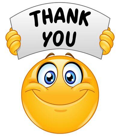 Szczęśliwy emotikon emoji trzymający znak z tekstem dziękuję