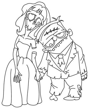 Boda Zombie contorneada. La novia y el novio cogidos de la mano. Página para colorear de ilustración de arte de línea de vector.
