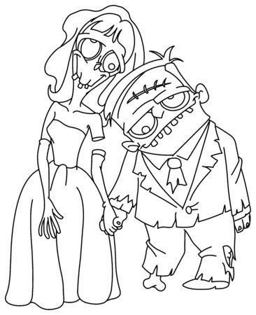 Outlined Zombie wedding. Bride and groom holding hands. Vector line art illustration coloring page.