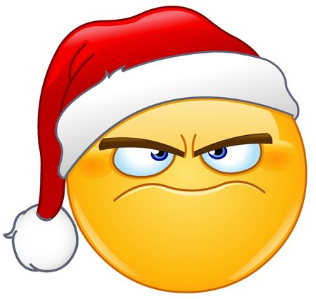 Grumpy angry emoji emoticon with Santa Claus hat celebrating Christmas