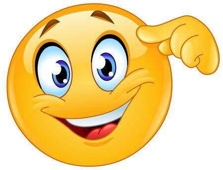 Happy emoji emoticon pointing finger at forehead Ilustração