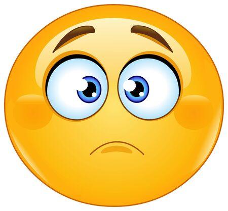 Émoticône emoji légèrement fronçant les sourcils. Expression d'inquiétude, de déception ou de tristesse Vecteurs
