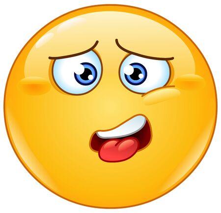Drenado, molesto, cansado, harto o estar harto de que el emoticón tenga la lengua ligeramente sobresaliente