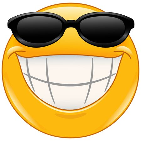 Emoji emoticon with big toothy smile wearing black sunglasses