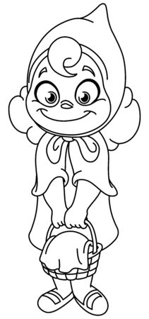 Outlined little red riding hood. Vector line art illustration coloring page.