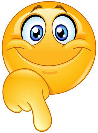 Emoticon emoji feliz apuntando hacia abajo con su dedo Ilustración de vector