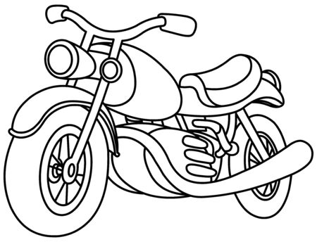Outlined motorcycle. Vector line art illustration coloring page. 向量圖像