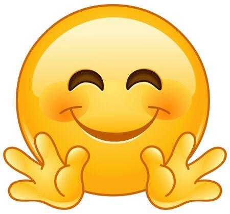 Emoticon Emoji che sorride con le mani aperte come se abbracciasse