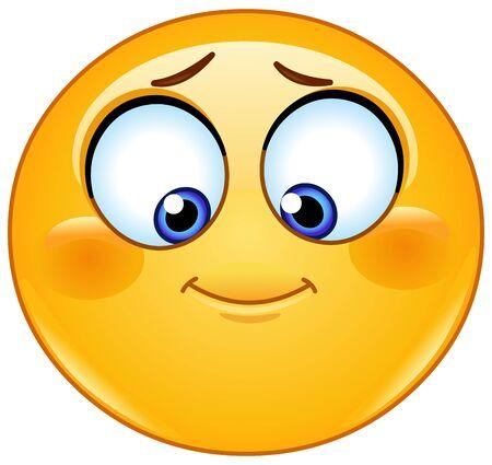 Nieśmiały emotikon emoji patrzący w dół