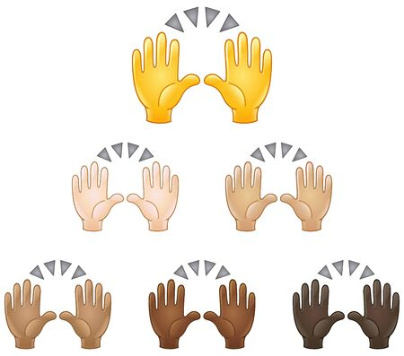 Raising hands in the air emoji set of various skin tones. Celebrating success or another event.