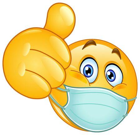 Emoji emoticon with medical mask over mouth showing thumb up Ilustração Vetorial