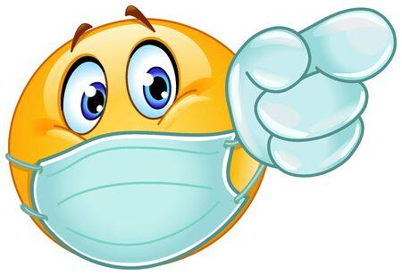 Emoji-emoticon met medisch masker over mond en wegwerphandschoenen die naar voren wijzen Vector Illustratie