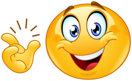 Happy emoji emoticon after snapping his fingers want to say: easy, got it or have an idea