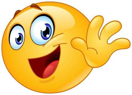 Happy emoji emoticon waving goodbye. Saying gotta go or see you