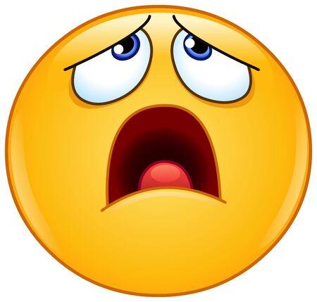 Emoji-emoticon die opkijkt met open mond met een vermoeide uitdrukking van oh nee, wat nu?