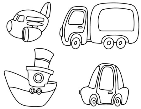 Outlined set of cartoon transport. Plane, truck, ship and car. Vector line art illustration coloring page. Vector Illustration