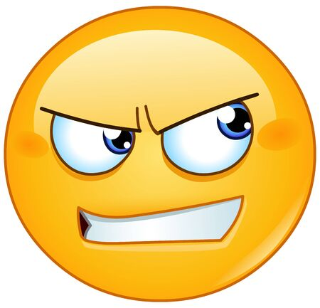 Angry emoji emoticon with bared teeth looking to the side Illustration