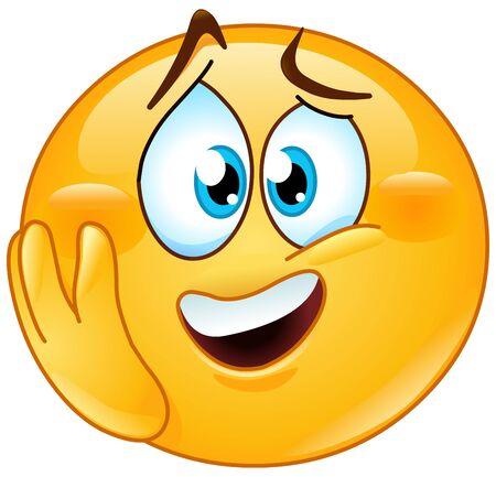 Emotional excited emoji emoticon with hand on cheek