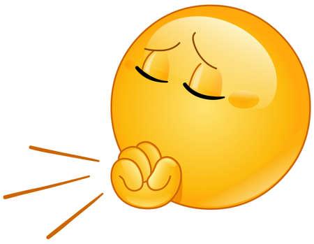 Emoji emoticon coughing into fist