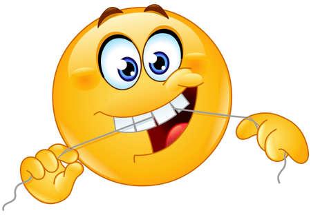 Emoji emoticon cleaning his teeth with a dental floss Ilustración de vector