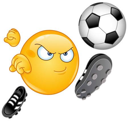 Emoji emoticon playing soccer football, kicking the ball