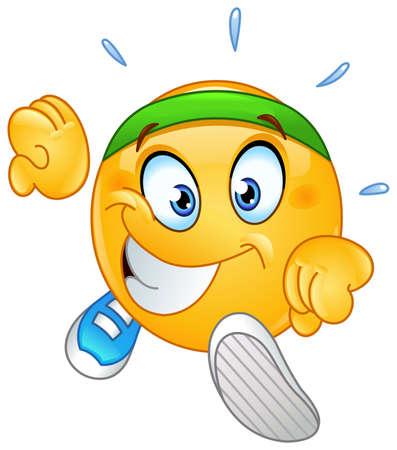 Happy emoji emoticon running and sweating