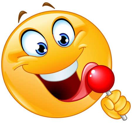 Happy emoji emoticon licking a red lollipop Ilustración de vector