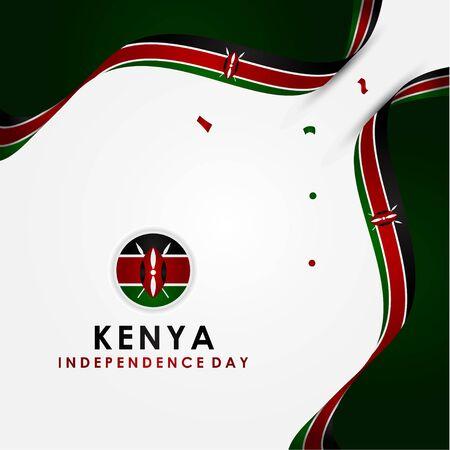 Kenya Independence Day Vector Design Template Vettoriali