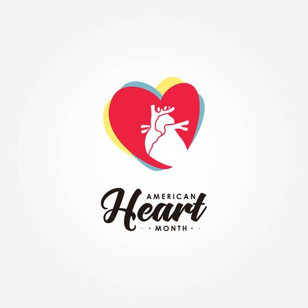 American Heart Month Vector Design For Banner or Background