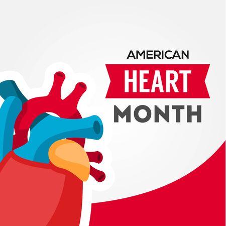 American Heart Month Vector Design For Banner or Background Vektorové ilustrace