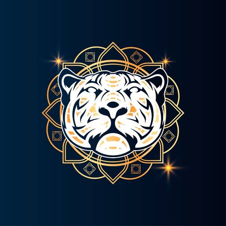 Tiger Vector T-Shirt Designs With Mandala Background For Apparel