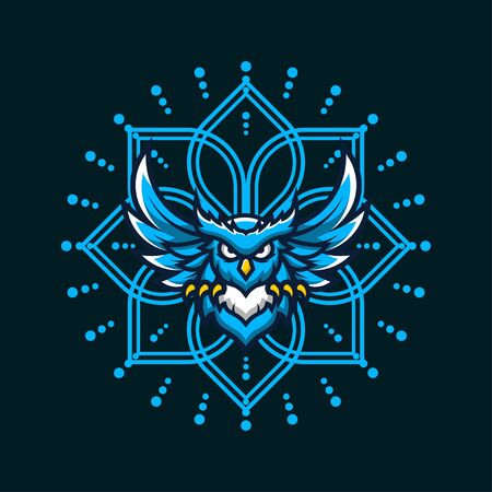 Blue Owl Vector T-Shirt Designs With Mandala Background For Apparel Ilustracja
