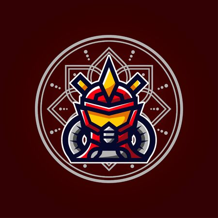 Robot Vector T-Shirt Designs With Mandala Background For Apparel Ilustracja