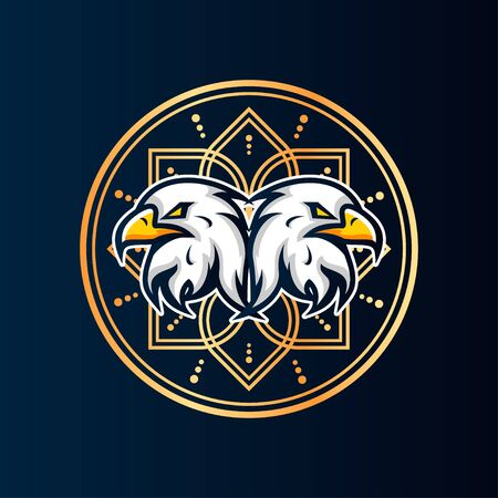 Twins Eagle Vector T-Shirt Designs With Mandala Background For Apparel