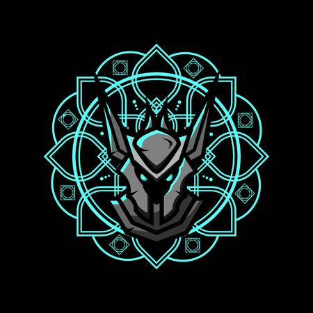 Warrior Vector T-Shirt Designs With Mandala Background For Apparel