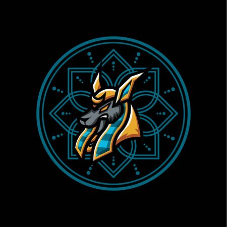 Anubis Vector T-Shirt Designs With Mandala Background For Apparel Ilustracja